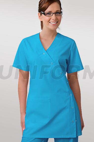 medizinischer damen kasack uniformix 1 tasche druckknopfleiste t rkisblau un2005 t rkisblau. Black Bedroom Furniture Sets. Home Design Ideas