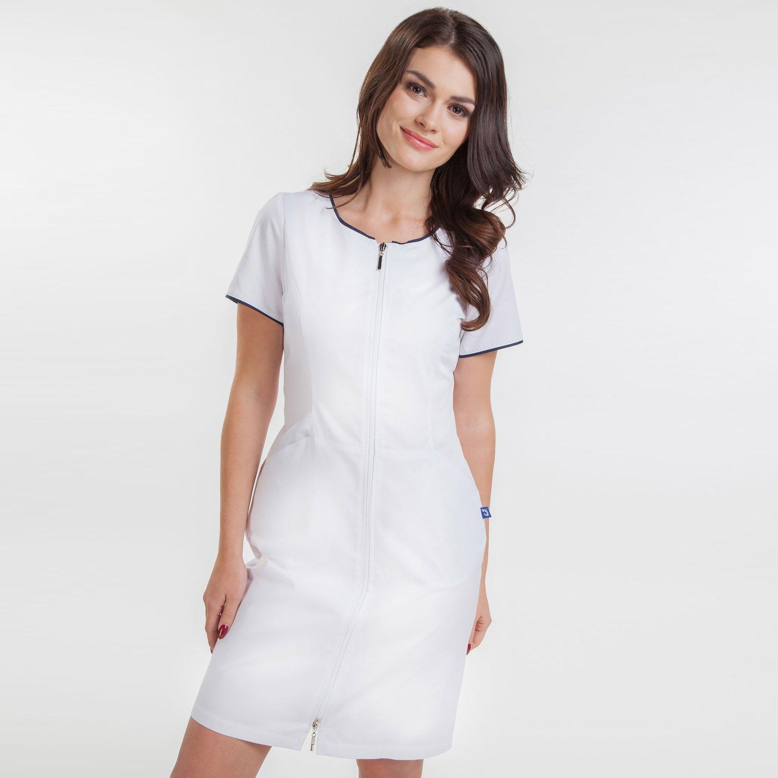 Medizines Kleid Uniformix, weiss Besatz tiefblau. UN2030 ...